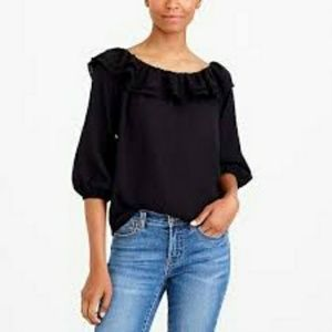 J Crew Mercantile Black Off Shoulder Ruffle Top
